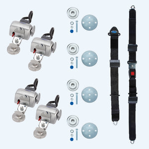 4 QRT Standard Retractors with Slide 'N Click fittings; and Manual Lap & Shoulder Belt | Q-8200-A-SC - wheelchairstrap.com