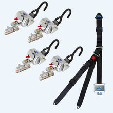 Load image into Gallery viewer, 4 QRT Standard Retractors with L-Track Fittings with Retractable Lap & Shoulder Belt Combo | Q-8200-A1-L - wheelchairstrap.com