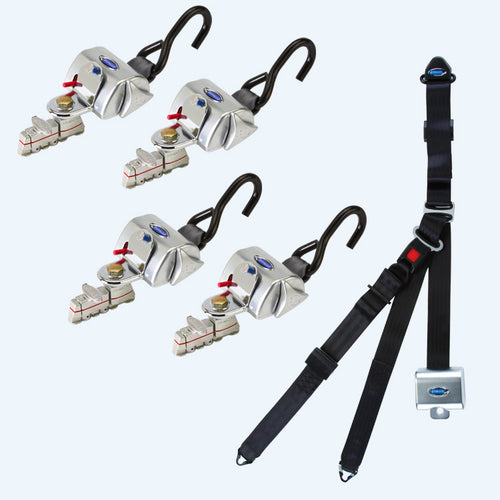 4 QRT Standard Retractors with L-Track Fittings with Retractable Lap & Shoulder Belt Combo | Q-8200-A1-L - wheelchairstrap.com