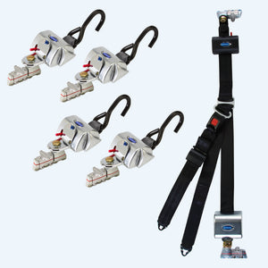 4 QRT Standard Retractors with L-Track fittings and HR131 Retractable Lap & Shoulder Belt with Retractable L-Track Height Adjuster and 131º Bracket | Q-8206-L2 - wheelchairstrap.com