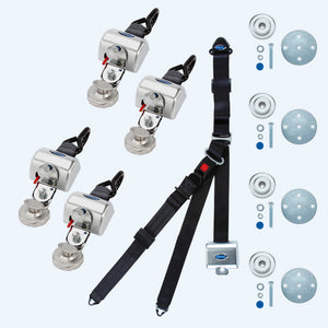 4 QRT Max Retractors with Slide 'N Click fittings and Retractable Lap & Shoulder Belt Combo | Q-8300-A1-SC - wheelchairstrap.com