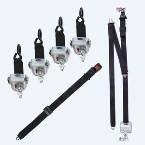 4 QRT-360 Retractors with L-Track Fittings and Retractable Lap & Shoulder Belt with L-Track and 131º Bracket | Q-8600-A1-L2 - wheelchairstrap.com