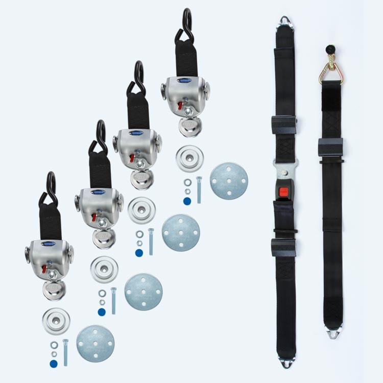 4 QRT-360 Retractors with Slide 'N Click Fittings and Manual Lap & Shoulder Belt with L-Track Fitting | Q-8600-AP-SC - wheelchairstrap.com