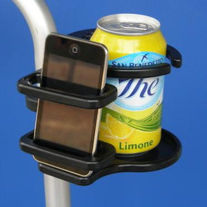Combination Cell Phone / Adjustable Drink Holder for Mobility Products | A0015 - wheelchairstrap.com