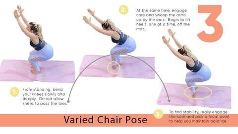 Yoga Poses for Strength - Varied Chair Pose | My Yoga Essentials
