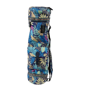 Bags Blue Floral Zippered Deluxe Yoga Mat Bag