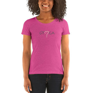 "Berry Triblend / S ""Yoga Love"" Ladies short sleeve t-shirt"