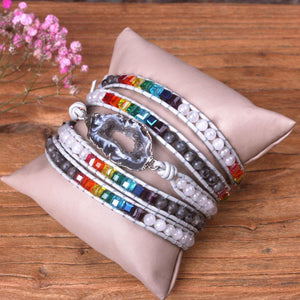 7 Chakra Crystal/Natural Druzy Mixed Multilayer 5-Wrap Bracelet