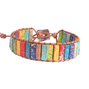 Natural Stone and Leather Single Rope Wrap Bracelet - Chakra