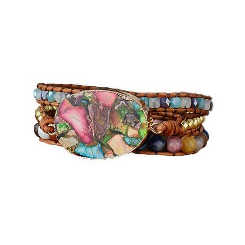 Women's 3 Wrap Leather Bracelet with Natural Stone