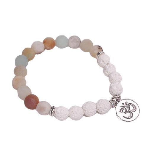 Lava Stone and Frosted Amazonite yoga bracelet with OM Charm