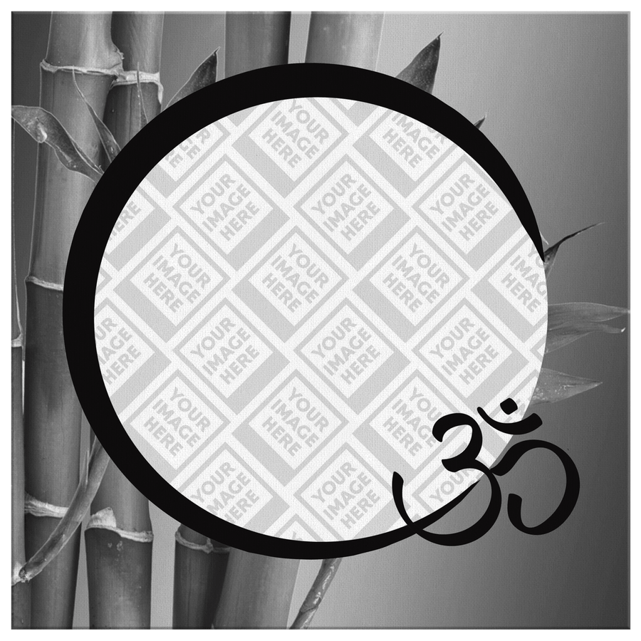 "Personalized ""OM"" Canvas Art - Bamboo in Black and White"