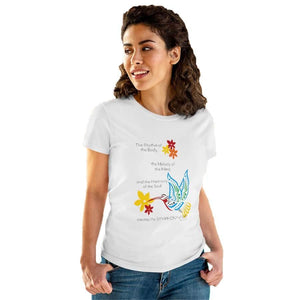 "T-Shirt White / L Hummingbird ""Symphony of Life"" Women's Cotton Tee"