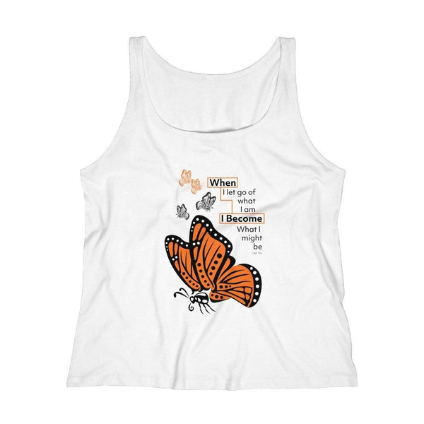 "Tank Top White / L Monarch ""Become"" Women's Relaxed Jersey Tank Top"