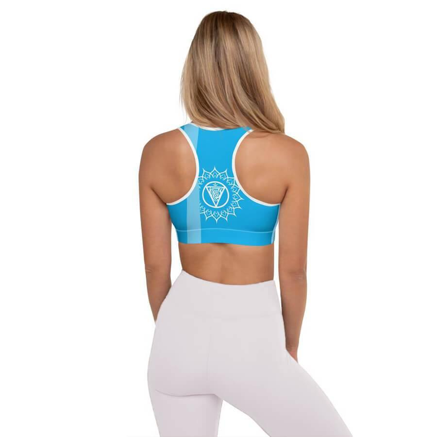 Throat Chakra Padded Sports Bra