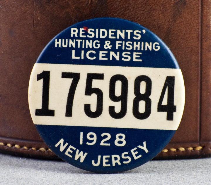 new jersey resident hunting fishing license badge 1928