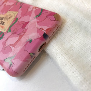 Kawaii Pink Flowers Phone Case For iPhone 7 8 Puls 6 6S Puls X P0023