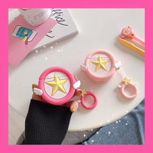 Load image into Gallery viewer, Cute Sakura Star Angel Wing Cover For Apple Air pods 2 Finger Ring Strap OT005