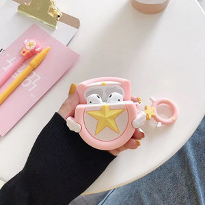 Cute Sakura Star Angel Wing Cover For Apple Air pods 2 Finger Ring Strap OT005