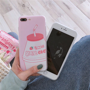 Kawaii Banana Strawberry Milk phone case for iPhone 6 6s 7 8 plus X Xs Max XR P0024