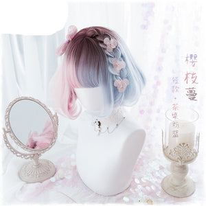 Blue Pink Short Curly Wigs + Wig Cap W007
