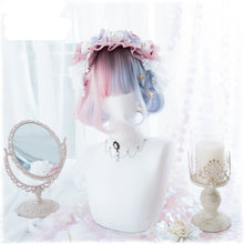 Load image into Gallery viewer, Blue Pink Short Curly Wigs + Wig Cap W007