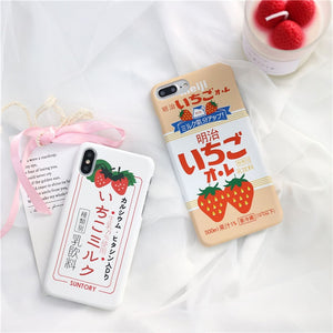 Summer Cute Strawberry Milk Phone Case For iPhone 6s,iPhone 7,iPhone 7 Plus,iPhone X,iPhone 8,iPhone 6 Plus,iPhone 6s plus,iPhone 6,iPhone 8 Plus P0016