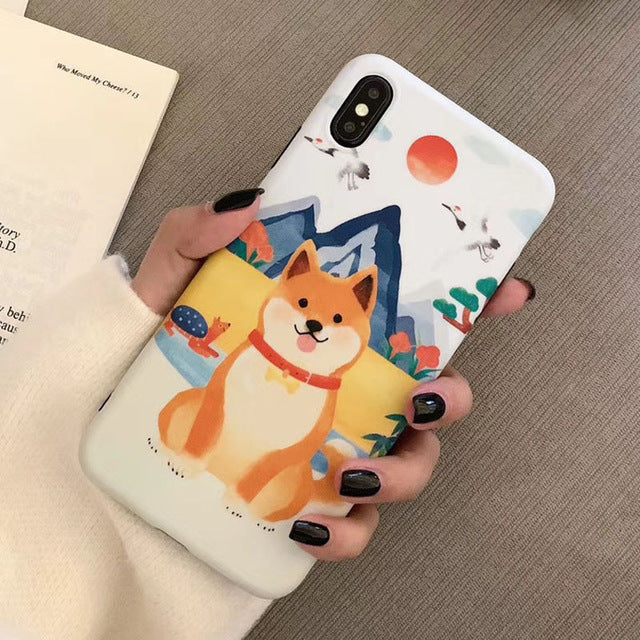 Japanese Cute Shiba Inu Soft Phone Case for iPhone 6 6S 7 8 Plus X XS XR XS MAX Cover P0020