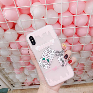Cute Strawberry Milk Phone Case for  iPhone X 6 7 8 6s plus P0022