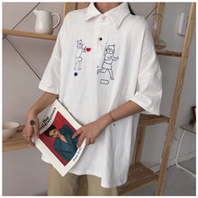 Load image into Gallery viewer, Harajuku Cat Turn-down Collar T-shirt UD7531