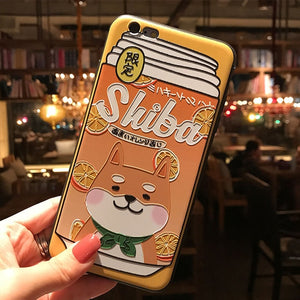 Shiba Inu Drink Phone Case for iPhone XS MAX XR Capa Coque Soft TPU Back Cover for iPhone X 8 7 6S 6 Plus Case P0017