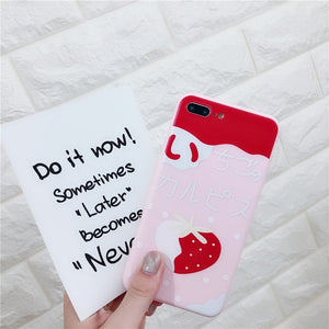 Cute Strawberry Drink Phone Case For iPhone 6s,iPhone 7,iPhone 5s,iPhone 7 Plus,iPhone X,iPhone SE,iPhone 8,iPhone 5,iPhone 6 Plus,iPhone 6s plus,iPhone 6,iPhone 8 Plus P0015