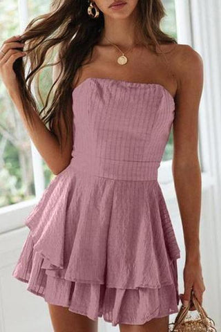 Wrapped Chest Ruffled Mini Dress