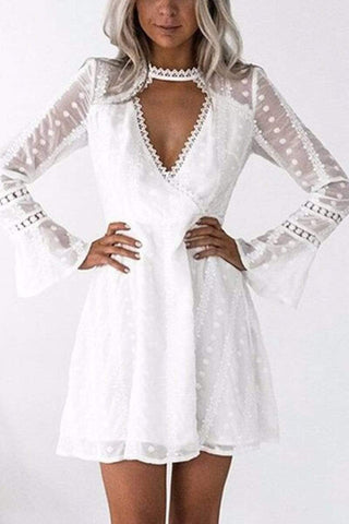 White Elegant Lace Long Sleeves Mini Dress