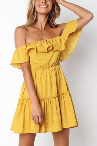Sexy Off Shoulder Short Sleeves Mini Dress