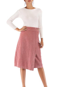 Single Button Plain Skirts