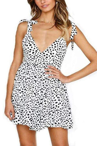 Casual Sexy Deep V   Neck Leopard Print Sling Mini Dresses