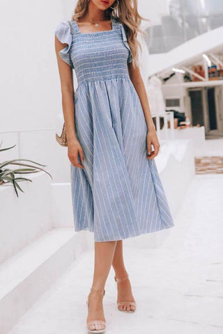 Square Neck  Flounce  Striped  Extra Short Sleeve Maxi Dresses