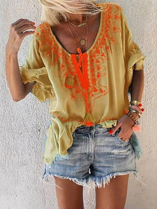 Bohemian Inwrought V Neck Halflong Sleeve T-Shirt