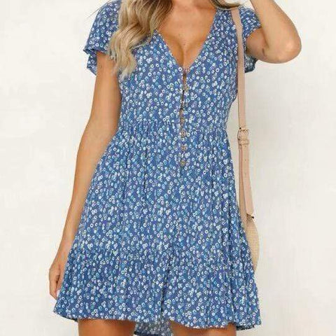 Summer Small Floral Holiday Buckle Stitching Mini Dress