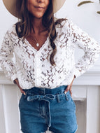Fashion V-Neck Long Sleeve Pattern Hollow Blouse