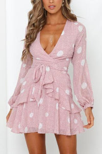 V-Neck Tie Printed Mini Dress