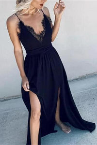 Sexy Sling Feather High Open Sleeveless Maxi Dresses