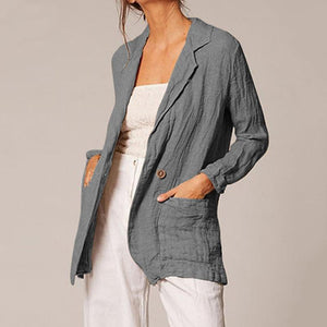Long Sleeve Pocket Casual Cotton Blazer