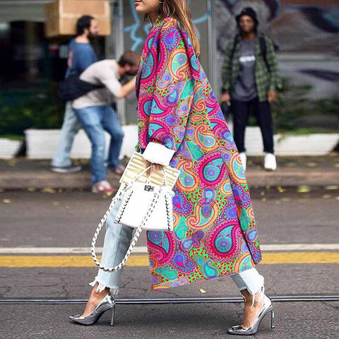 Women's Fashion Printed Color Turndown Collar Long Sleeve Overcoat
