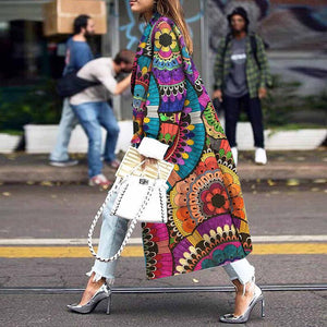 Fashion Loose Ankle-Length Printed Long Sleeve Coat