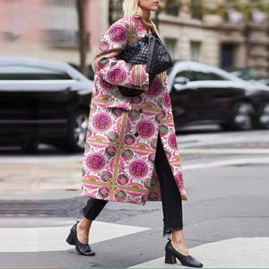 Vintage Printed Long Sleeve Coat