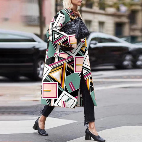 Fashion Long Sleeve Printed Coat