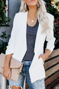 Fashion Solid Color Long-Sleeved Slim Blazer