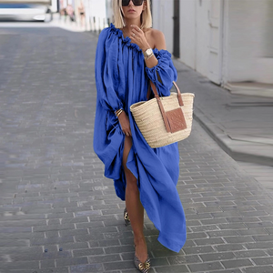 Off-Shoulder Pure Colour Maxi Dress